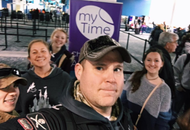 The fam waiting to check in!