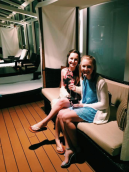 Sipping champagne with the captain of the ship. Goals.